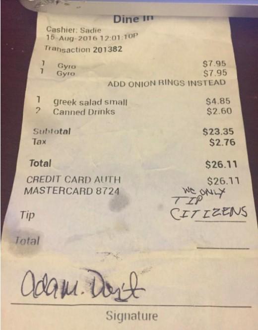 The infamous receipt.
