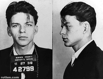 Can you believe this? Yes. This is an early mug shot of Frank Sinatra