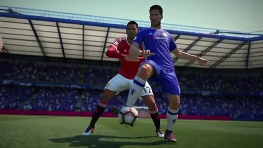 A view of the FIFA 17 Physical Player Overhaul performed by Eden Hazard (in blue jessy)