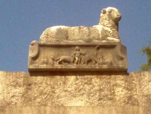 Picture from 20 August 2016.  This is the mantle above the mausoleum. Sources had indicated these(?) to be Egyptian or masonic symbols.  Steganography, perhaps?