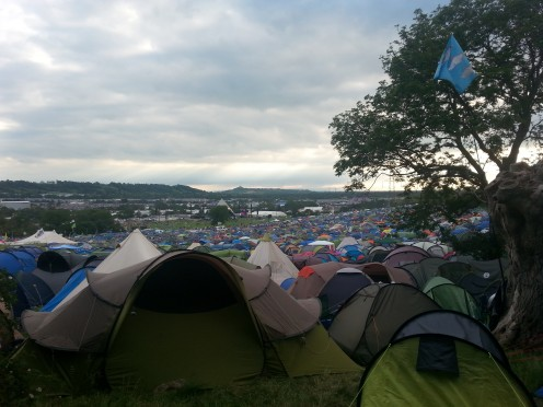A campsite near the arena in Glastonbury festival, UK