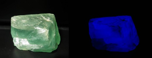 Green Fluorite photographed under normal light and UV (Black) Light.