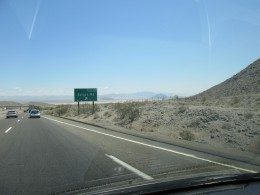 The exit to ZZyzx in Mojave National Preserve from I-15.