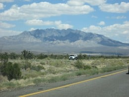 Clark Peak, the highest mountain in Mojave National Preserve, from I-15.