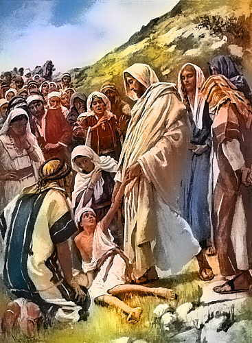 "Matthew 15:30 ""And great multitudes came unto him, having with them those that were lame, blind, dumb, maimed, and many others, and cast them down at Jesus' feet; and he healed them."""