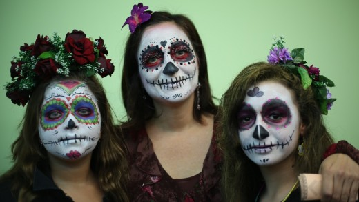 Traditional Day of the Dead faces.