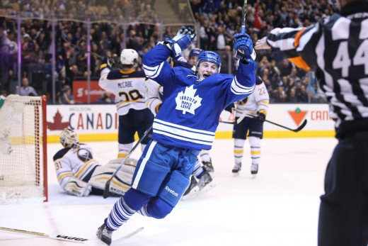Hyman celebrates first goal as a member of the Toronto Maple Leafs
