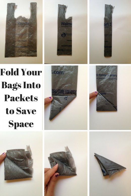 Fold your bags into packets to save space.