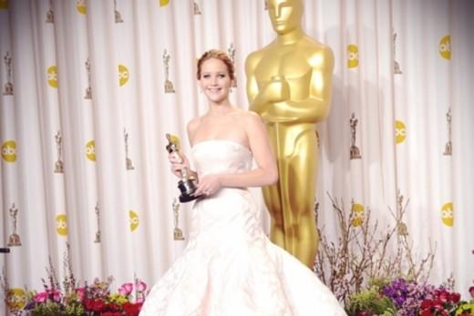 Jennifer Lawrence with her Oscar
