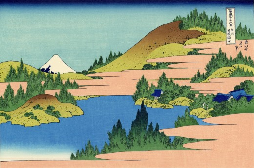 'The Lake of Hakone in Sagami Province'. Art by Hokusai (1760-1849). From the series, 'Thirty-six Views of Mount Fuji'. Public Domain.