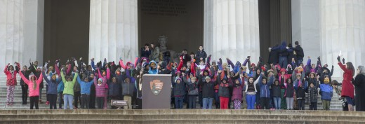 5th graders from Watkins Elementary School in Washington, DC, reciting ' Thank God almighty, we are free at last! '.
