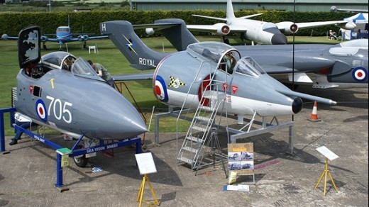 Some of the exhibits at Newark Air Museum