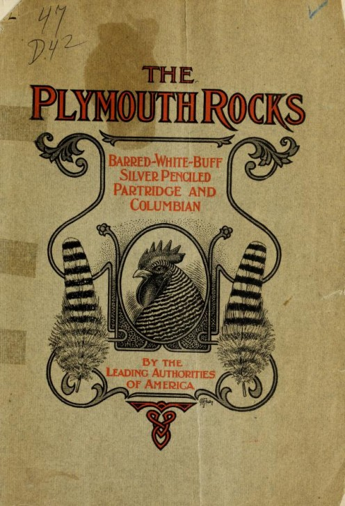 This antique book cover from 1911 shows a barred rock and lists the recognized color varieties of the time.