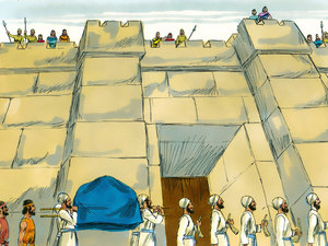 The army of Israel marches around the city of Jericho.