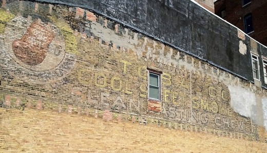 Chewing tobacco ghost sign at Southeast corner of Madison and Jefferson in Bloomington, Illinois
