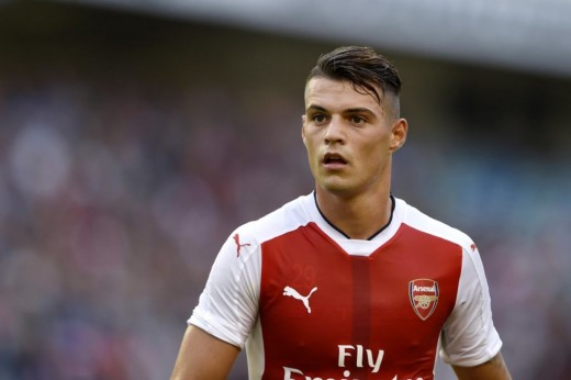 Granit Xhaka making his debut in Arsenals opening 3-4 loss to Liverpool