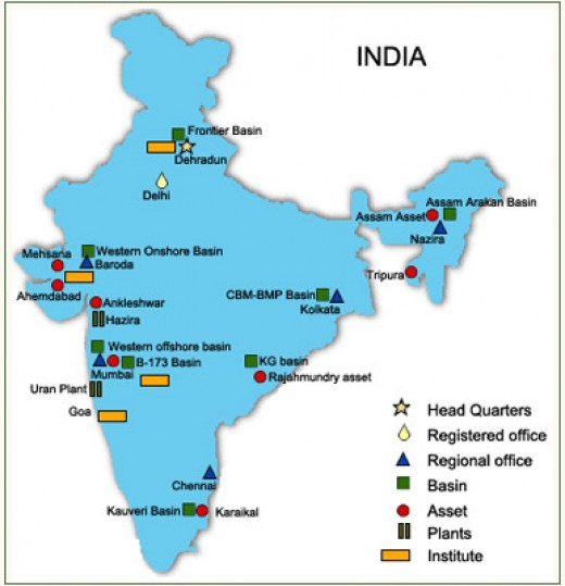 ONGC (Oil and Natural Gas Corporations) Locations in India. Click on the image to zoom it.