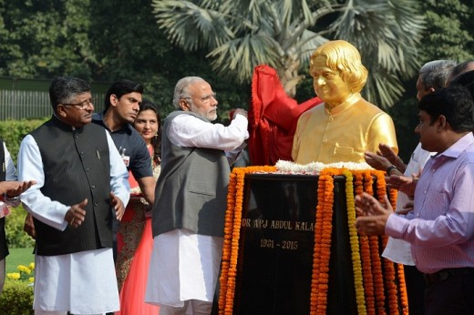 Prime Minister, Narendra Modi, unveiling the statue of the late former President and scientist, Dr. A.P.J. Abdul Kalam