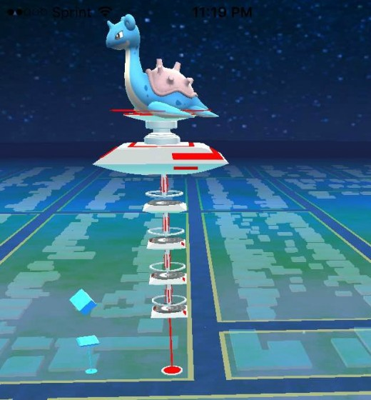 PokeStop is on the left (diamond) and the PokeGym is on the right