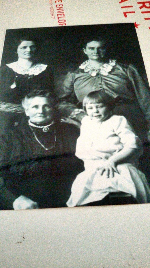 My great-grandmother, great aunt, daughter of my great aunt, and daughter of the daughter of my great aunt