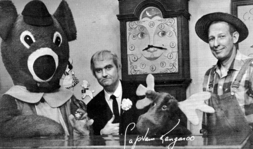 "Hugh Brannum ""Mr. Green Jeans,""  (far right) with Dancing Bear, Bunny Rabbit ,Capt Kangaroo,  Grandfather Clock and Mr. Moose"