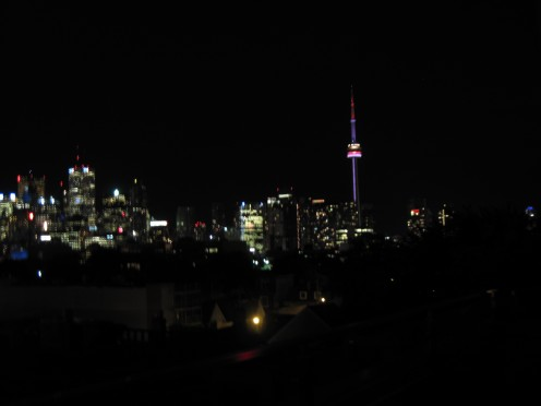CN Tower and Toronto skyline at night