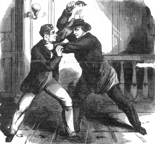 1865 Public Domain illustration of Lewis Powell attacking Frederick Seward from the National Police Gazette.