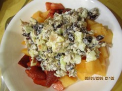 Chicken Fruit Salad with Cantaloupe (dairy-free)