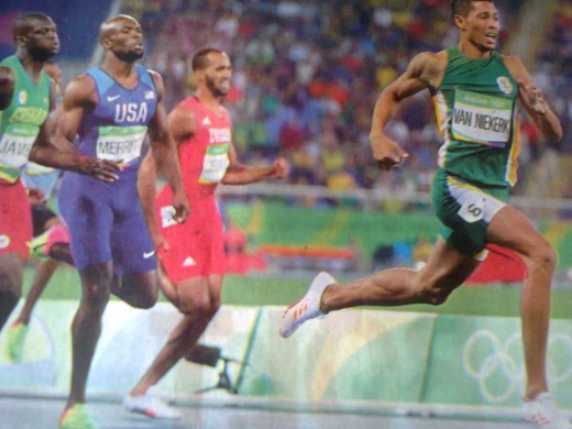 Van Niekerk of South Africa sets a new  World Record completing 400 m race in only 43.03 seconds.