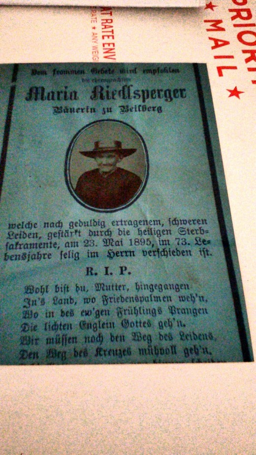 Death card in German for a paternal great-great-grandmother