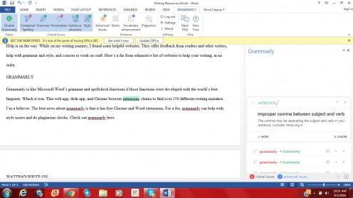 Grammarly running inside Microsoft Word