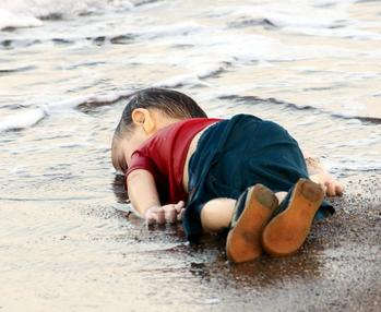 Three-year-old Alan Kurdi lying lifeless on the beach DateSeptember 2, 2015 LocationMediterranean Sea, near Bodrum, Turkey