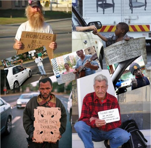 Beggars of all races, ages and sexes at busy intersections in South Africa