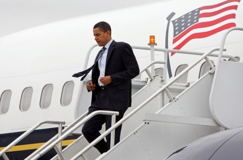 President Obama departing his private Jet
