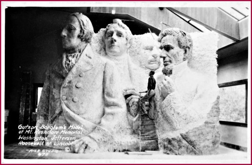 Gutson Borglum working on his model for Mt. Rushmore.