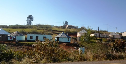 Beautiful properties of the poor - an area in KwaZulu-Natal, South Africa, occupied by Zulu-people who take pride in their environment in spite of poverty