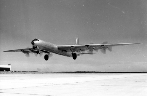 B-36 taking off for a mission for SAC.