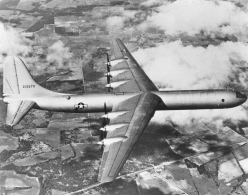 The B-36 on its first flight.