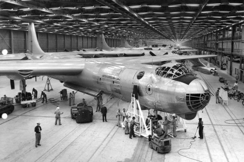 The B-36 on the assembly line 384 were built.
