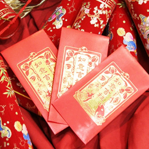 Red Packets. They are frequently used as decorations too.