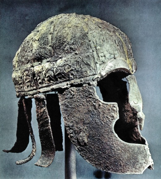 The Vendel helmet found in a grave mound near Uppsala, Sweden. probably a king's or a nobleman's to judge by the intricate workmanship still evident after more than a thousand years