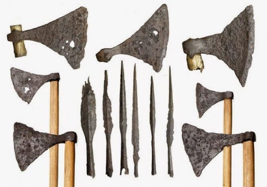 A range of axes and spearheads shows the variety of styles from early to late Viking Age