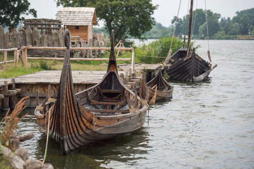 Craft moored in a haven. Ships were kept out of the water in winter for maintenance, to make ready for the next season - raiding or trading