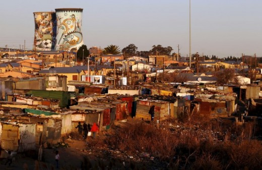 Many people living in shacks, Soweto, South Africa