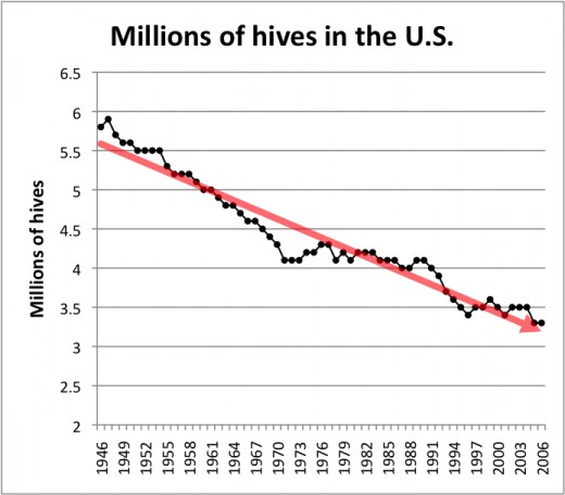 Chart showing decline of US bee hives over time