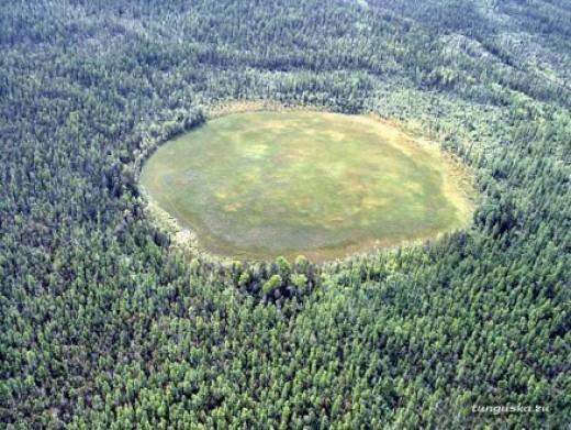 Modern day aerial photo of  Tunguska location