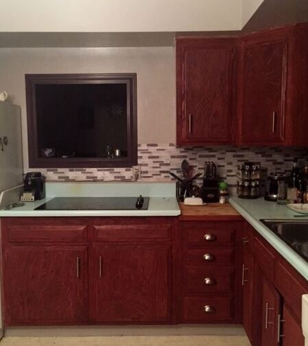Kitchen Cabinets after Minwax Sedona Red Cherrywood / Redwood stain