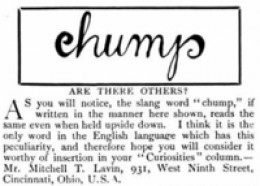 According to Wikipedia, this ambigram by Mitchell T. Lavin was published  in The Strand Magazine, June 1908.