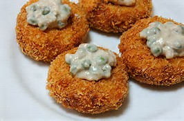 Chicken Coquettes with White Pea Sauce