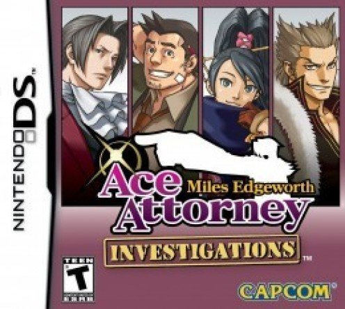 Ace Attorney Investigations: Miles Edgeworth Nintendo DS cover. From left to right: Miles Edgeworth, Dick Gumshoe, Kay Faraday, Shi-Long Lang